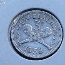 Monedas antiguas de Oceanía: NUEVA ZELANDA 3 PENIQUES 1958. Lote 140270194