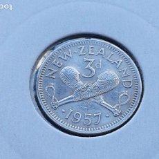 Monedas antiguas de Oceanía: NUEVA ZELANDA 3 PENIQUES 1957. Lote 140270442