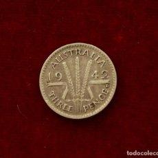 Monedas antiguas de Oceanía: 3 PENCE 1942 PLATA AUSTRALIA . Lote 142983822