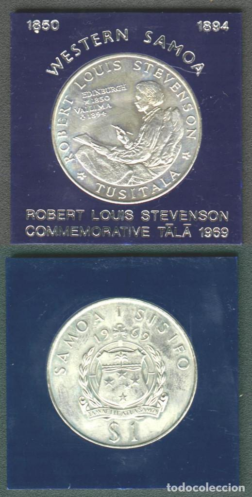 Monedas antiguas de Oceanía: Antigua moneda conmemorativa de Western Samoa 1$ de 1969 Robert Louis Stevenson - Foto 2 - 147578918