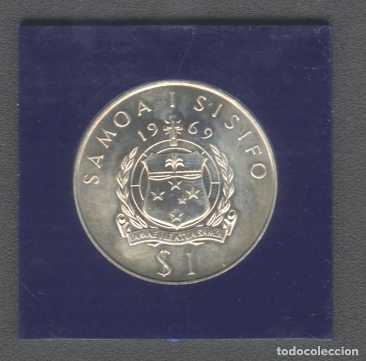 Monedas antiguas de Oceanía: Antigua moneda conmemorativa de Western Samoa 1$ de 1969 Robert Louis Stevenson - Foto 3 - 147578918