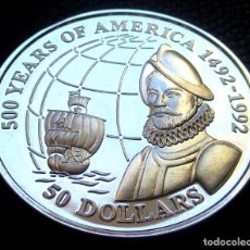 Monedas antiguas de Oceanía: ISLAS COOK 50 DÓLARES 1993 -EXPLORADOR FRANCISCO DE ORELLANA- PROOF -PLATA-. Lote 155760842