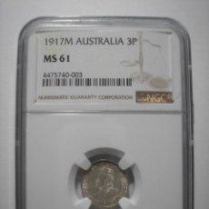 Monedas antiguas de Oceanía: SBA49 AUSTRALIA 3 PENCE 1917M NGC MS61 PLATA . Lote 158849126