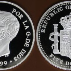 Monedas antiguas de Oceanía: REPUBLICA DE PALAU 5 DOLARES PLATA 1999 PROOF 5 PESETAS 1899 ALFONSO XIII ESPAÑA. Lote 167814712