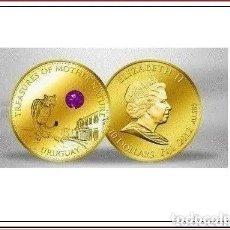 Monedas antiguas de Oceanía: 10 DÓLARES 2012 ORO CON AMATISTA - MONEDA DE ORO FIJI. Lote 171224133