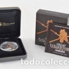 Monedas antiguas de Oceanía: 1 OZ PLATA PURA DE LA COLECCION DE GRANDES GUERREROS (SAMURAI) DEL 2010 DE TUVALU. Lote 173846857
