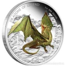 Monedas antiguas de Oceanía: 1 OZ PLATA PURA COLOREADA DE LA SERIE DE DRAGONES. Lote 173894899
