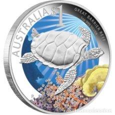 Monedas antiguas de Oceanía: 1 OZ DE PLATA COLOREADA DE LA DEFENSA DE LA GRAN BARRERA DE CORAL. Lote 173895075