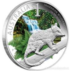 Monedas antiguas de Oceanía: 1 OZ COLOREADA DE ESMALTES DE PLATA PURA, DEL LEON DE TASMANIA. Lote 173896440