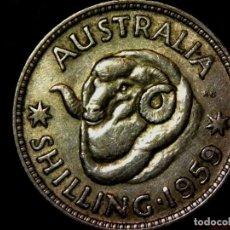 Monedas antiguas de Oceanía: 1 CHELÍN 1 SHILLING 1959 AUSTRALIA PLATA ELIZABETH II (A2). Lote 183366543