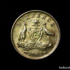 Monedas antiguas de Oceanía: 6 PENCE 1962 AUSTRALIA PLATA ELIZABETH II (A1). Lote 183370780
