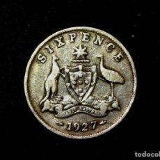 Monedas antiguas de Oceanía: 6 PENCE 1927 AUSTRALIA PLATA DE LEY JORGE V (A1). Lote 183373775