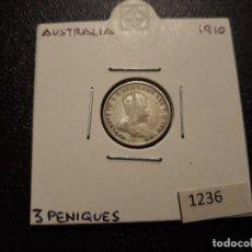 Monedas antiguas de Oceanía: AUSTRALIA 3 PENIQUES PLATA 1910. Lote 198185806