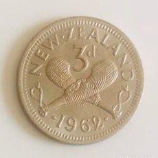 Monedas antiguas de Oceanía: 3 PENIQUES 1962 NUEVA ZELANDA COMMONWEALTH. Lote 174047428