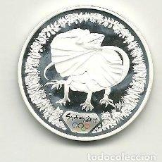 Monedas antiguas de Oceanía: 5 DÓLARES DE AUSTRALIA DE 2000 SERIE OLIMPIADAS SYDNEY 2000 BASILISCO. ONZA DE PLATA PURA. Lote 198659906
