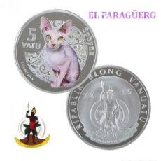 Monedas antiguas de Oceanía: VANUATU 5 VATU 2015 MEDALLA TIPO MONEDA PLATA ( ABORIGEN Y GATO EGIPCIO ) - PESO 32 GRAMOS - Nº1. Lote 199255037