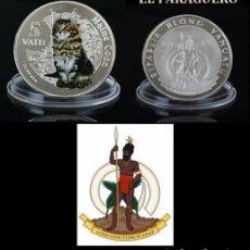 Monedas antiguas de Oceanía: VANUATU 5 VATU 2015 MEDALLA TIPO MONEDA PLATA ( ABORIGEN Y GATO AMERICANO ) - PESO 33 GRAMOS - Nº2. Lote 199256687