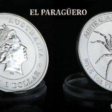 Monedas antiguas de Oceanía: AUTRALIA 1 DOLAR 2015 MEDALLA TIPO MONEDA PLATA ( ARAÑA AUSTRALIANA ) - PESO 34 GRAMOS - Nº3. Lote 199257151
