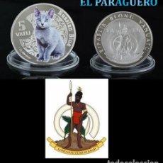 Monedas antiguas de Oceanía: VANUATU 5 VATU 2015 MEDALLA TIPO MONEDA PLATA ( ABORIGEN Y GATO RUSO AZUL ) - PESO 32 GRAMOS - Nº1. Lote 199258533