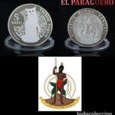 Monedas antiguas de Oceanía: VANUATU 5 VATU 2015 MEDALLA TIPO MONEDA PLATA ( ABORIGEN Y GATO TURCO ANGORA) - PESO 32 GRAMOS - Nº1. Lote 199258611