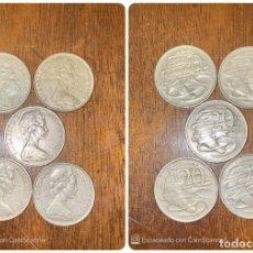 Monedas antiguas de Oceanía: LOTE DE 5 MONEDAS DE AUSTRALIA. ELIZABETH II. 20 CTS. AÑOS: 1966, 1974, 1980, 1981, 1999. VER.. Lote 200196930