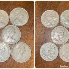 Monedas antiguas de Oceanía: LOTE DE 5 MONEDAS DE AUSTRALIA. ELIZABETH II. 20 CTS. AÑOS: 1966, 1972, 1976. VER FOTOS. Lote 200197118
