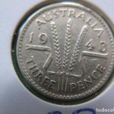 Monedas antiguas de Oceanía: AS-AUSTRÁLIA 3 PENCE 1943 PRATA. Lote 202505401