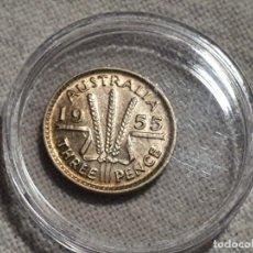 Monedas antiguas de Oceanía: AUSTRALIA - 3 THREE PENCE 1955 - PLATA 500 - SCC/BU. Lote 203982072