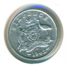Monedas antiguas de Oceanía: AUSTRALIA 6 PENCE PENIQUES 1942 ( EBC- ) KM # 38 - GEORGE VI - CECA D (DENVER) - PLATA. Lote 210261195