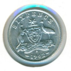 Monedas antiguas de Oceanía: AUSTRALIA 6 PENCE PENIQUES 1942 ( EBC- ) KM # 38 - GEORGE VI - CECA S (SAN FRANCISCO) - PLATA. Lote 210261208