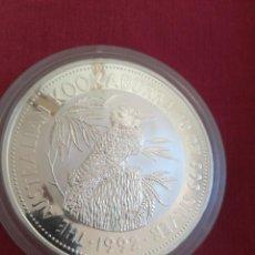 Monedas antiguas de Oceanía: 10 DOLLARS AUSTRALIA 1992 10 OZ PLATA 999 311 GR KOOKABURRA. Lote 211272529