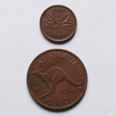 Monedas antiguas de Oceanía: 2ªGM PENNY AUSTRALIA 1940 + CENT CANADA 1940. Lote 212004718