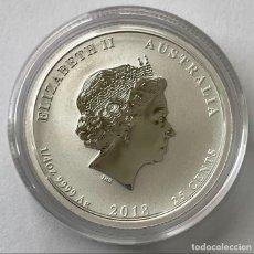 Monedas antiguas de Oceanía: AUSTRALIA - 25 CENTS 2018 - YEAR OF THE DOG - COLOR - 1/4 OZ – PLATA FDC. Lote 216621548