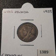 Monedas antiguas de Oceanía: NUEVA ZELANDA 6 PENIQUES 1933. Lote 217583638