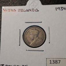 Monedas antiguas de Oceanía: NUEVA ZELANDA 3 PENIQUES 1934. Lote 217583650