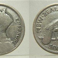 Monedas antiguas de Oceanía: MONEDA DE NUEVA ZELANDA 6 PENIQUES 1933, EMPERADOR GEORGE V PLATA. Lote 218552818