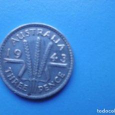 Monedas antiguas de Oceanía: AUSTRALIA 3 PENCE 1943 PLATA. Lote 218997028