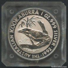 Monedas antiguas de Oceanía: AUSTRALIA, MONEDA DE PLATA, KOOKABURRA, VALOR: 1 DOLLAR, 1992, SILVER COIN ONZA. Lote 219918557