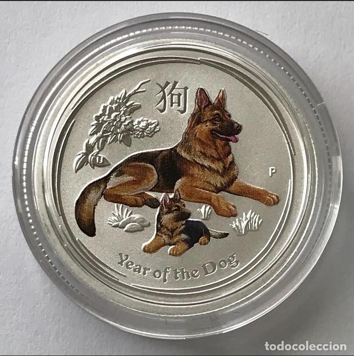 AUSTRALIA - 25 CENTS 2018 - YEAR OF THE DOG - COLOR - 1/4 OZ – PLATA FDC (Numismática - Extranjeras - Oceanía)