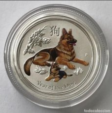 Monedas antiguas de Oceanía: AUSTRALIA - 25 CENTS 2018 - YEAR OF THE DOG - COLOR - 1/4 OZ – PLATA FDC. Lote 220085203