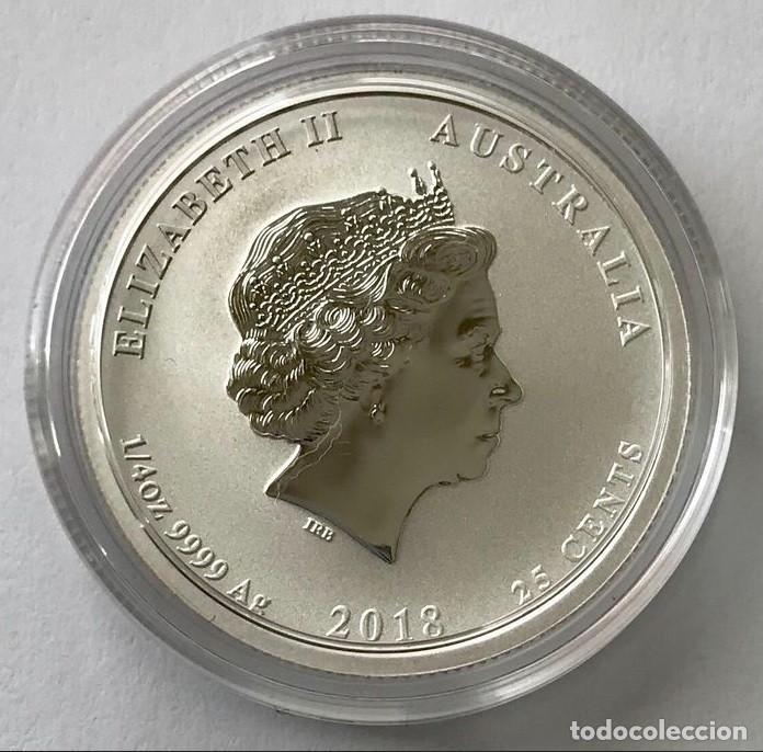 Monedas antiguas de Oceanía: Australia - 25 Cents 2018 - Year of the Dog - Color - 1/4 Oz – Plata FDC - Foto 2 - 220085203