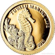 Monedas antiguas de Oceanía: MONEDA, TUVALU, ELIZABETH II, L HIPPOCAMPE, DOLLAR, 2010, CIT, BE, FDC, ORO. Lote 222724650