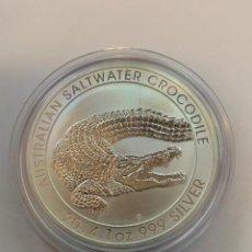 Monedas antiguas de Oceanía: MONEDA 1 OZ PLATA COCODRILO DE AGUA SALADA - SALTWATER COCODRILE 2014 AUSTRALIA. Lote 229265195