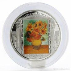 Monedas antiguas de Oceanía: COOK ISLANDS 2010 VINCENT VAN GOGH GIRASOLES COLOR 3 ONZAS. Lote 230202065