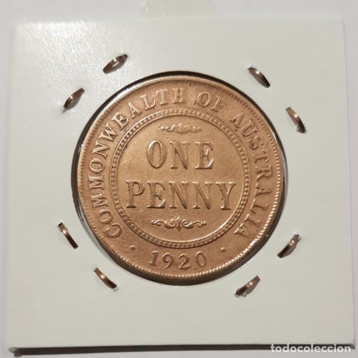 Monedas antiguas de Oceanía: AUSTRALIA, ONE PENNY, DEL 1920. ORIGINAL. - Foto 3 - 234409280