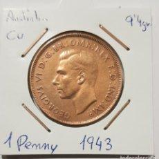 Monedas antiguas de Oceanía: AUSTRALIA, 1 PENNY, DEL 1943. ORIGINAL.. Lote 234409475