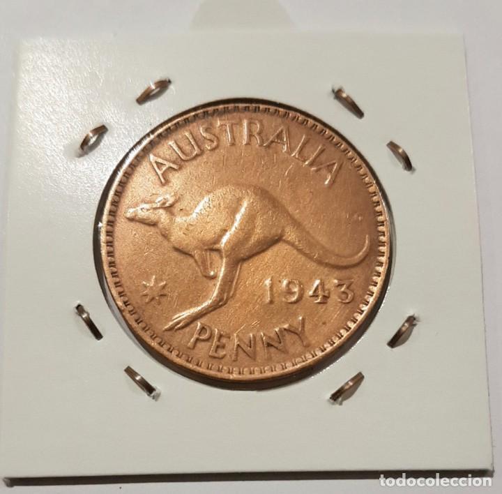 Monedas antiguas de Oceanía: AUSTRALIA, 1 PENNY, DEL 1943. ORIGINAL. - Foto 3 - 234409475