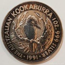Monete antiche di Oceania: AUSTRALIA, MONEDA DE PLATA, KOOKABURRA, 5 DOLLARS, DE 1991, PROOF, 1 ONZA, 31,4 GR. ORIGINAL.. Lote 234739300