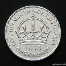Monedas antiguas de Oceanía: AUSTRALIA 1 CORONA 1938 ORIGINAL. PLATA EXCELENTE. MUY ESCASA. Lote 234979515