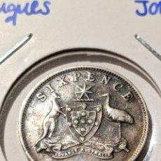 Monedas antiguas de Oceanía: MONEDA PLATA AUSTRALIA. 6 PENIQUES 1945. JORGE VI. Lote 235323170